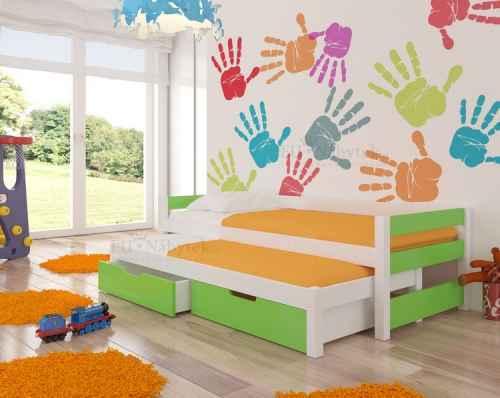 Dětská výsuvná postel RAGA zelená / bílá