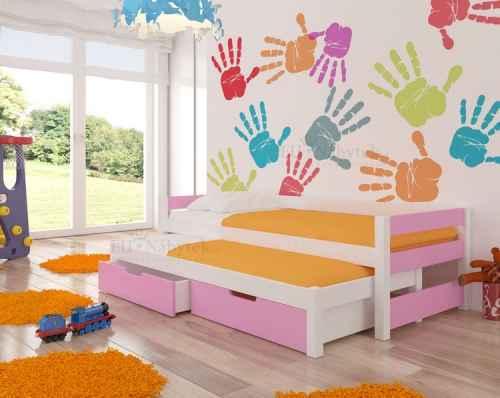 Dětská výsuvná postel RAGA růžová / bílá