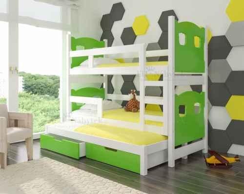 Dětská výsuvná trojpostel LETITUCE zelená / bílá