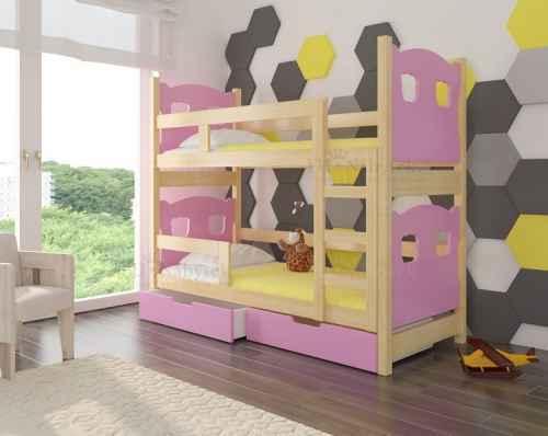 Dětská patrová postel TARABA růžová