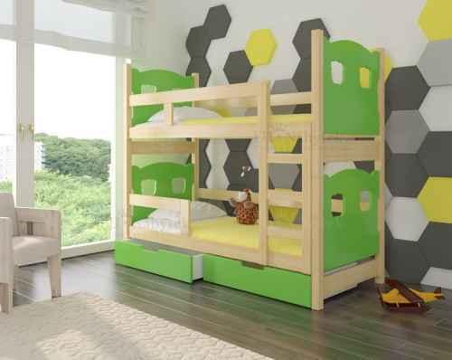 Dětská patrová postel TARABA zelená