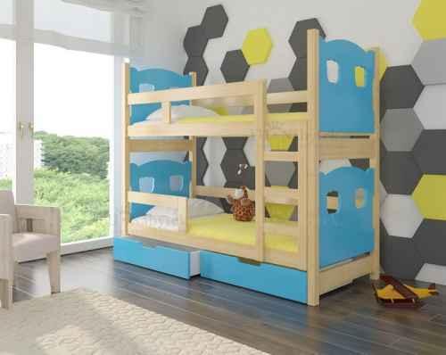 Dětská patrová postel TARABA modrá