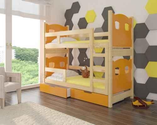 Dětská patrová postel TARABA oranžová