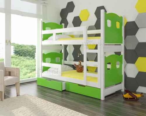 Dětská patrová postel TARABA zelená / bílá