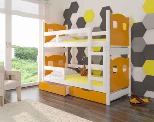 Dětská patrová postel TARABA oranžová / bílá