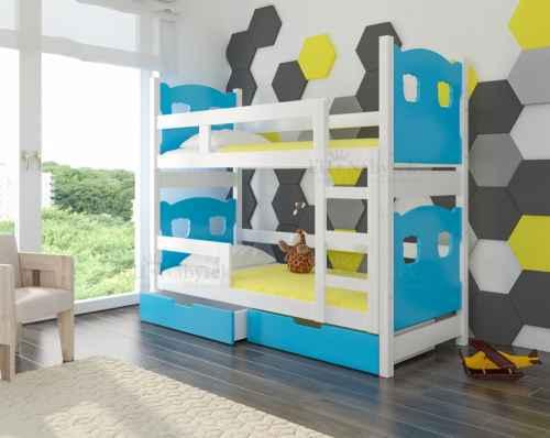 Dětská patrová postel TARABA modrá / bílá