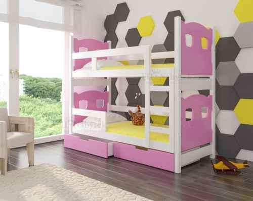 Dětská patrová postel TARABA růžová / bílá