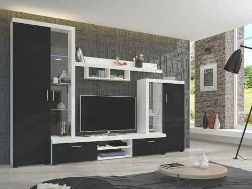 Obývací stěna ATIS bílá / černá DOPRODEJ
