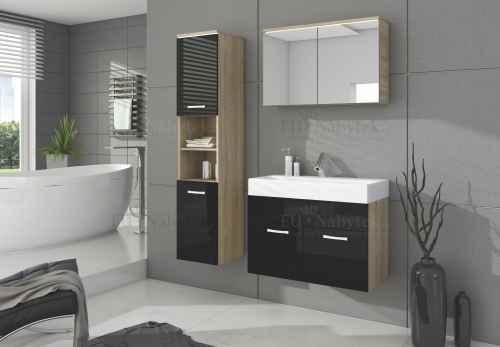 Koupelnová sestava BON černá lesk / dub sonoma