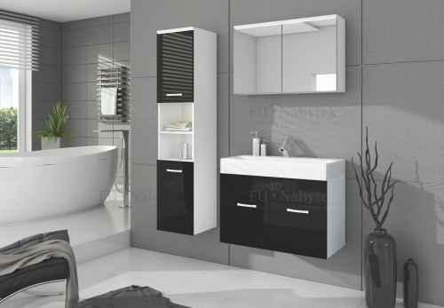 Koupelnová sestava BON bílá / černá lesk