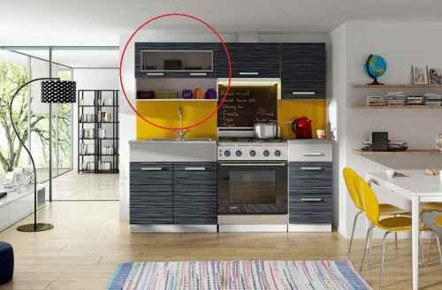 Kuchyňská skříňka MORRENO, horní vitrína s policí 80cm, grafit DOPRODEJ