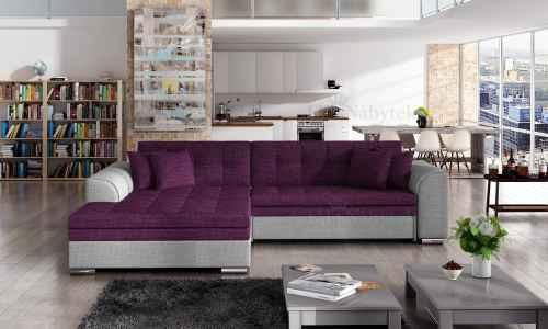 Rozkládací rohová sedačka RENTO fialová / šedá