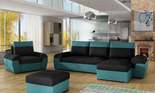 Sedací souprava DORI černá / modrozelená (sedačka+křeslo+taburet)