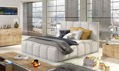 Čalouněná postel HEDVIKA bílá ekokůže 140x200cm