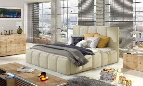 Čalouněná postel HEDVIKA béžová ekokůže 180x200cm