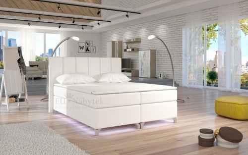 Kontinentální postel Boxspring BRAZIL bílá ekokůže 180x200cm