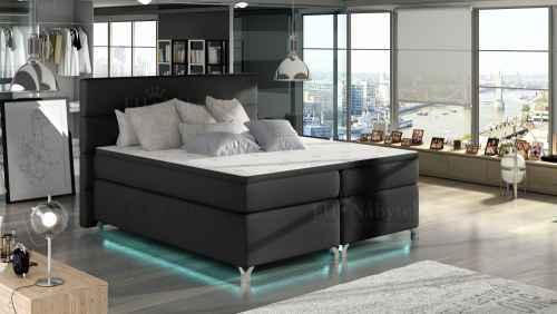 Kontinentální postel Boxspring MADEIRA černá ekokůže 180x200cm