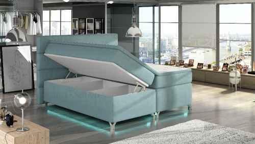 Kontinentální postel Boxspring MADEIRA bílá ekokůže 180x200cm