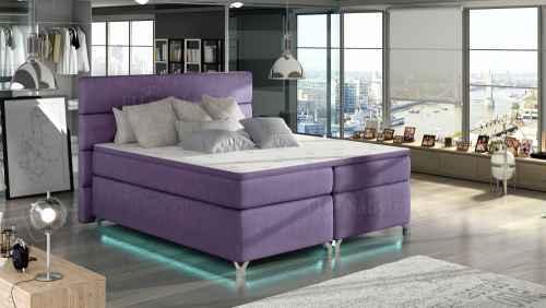 Kontinentální postel Boxspring MADEIRA fialová 180x200cm