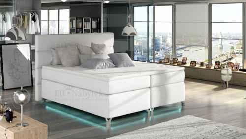 Kontinentální postel Boxspring MADEIRA bílá ekokůže 160x200cm