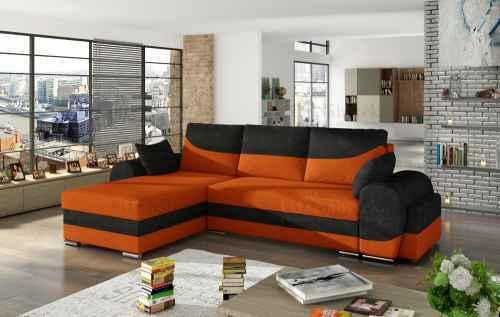 Rozkládací rohová sedačka INFINITI černá / oranžová + TABURET