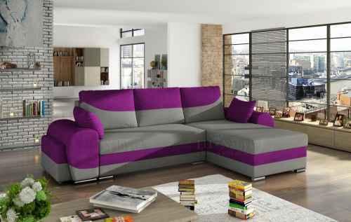 Rozkládací rohová sedačka INFINITI šedá / fialová + TABURET
