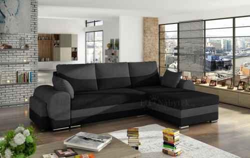 Rozkládací rohová sedačka INFINITI černá / šedá + TABURET