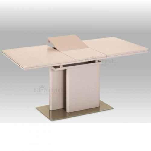 Jídelní rozkládací stůl, MDF capuccino HG + tvrzené sklo, Virat