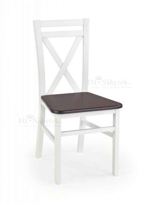 Jídelní židle DARIUSZ bílá/tmavý ořech