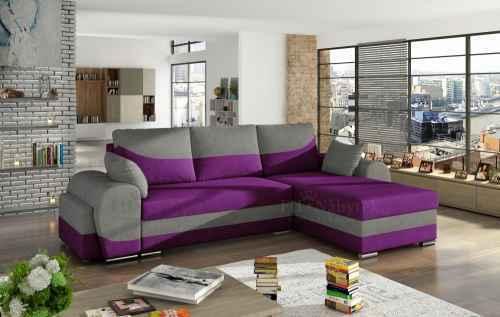 Rozkládací rohová sedačka INFINITI fialová / šedá + TABURET