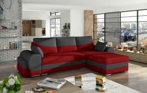 Rozkládací rohová sedačka INFINITI červená / šedá + TABURET