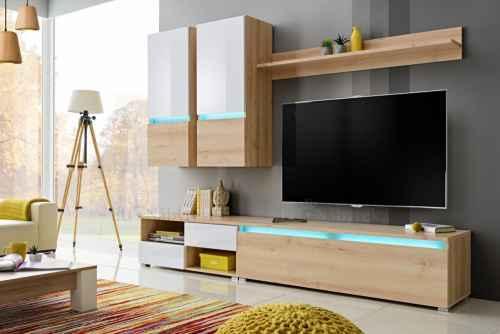 Obývací stěna GOLDIE buk ikonik / bílá lesk
