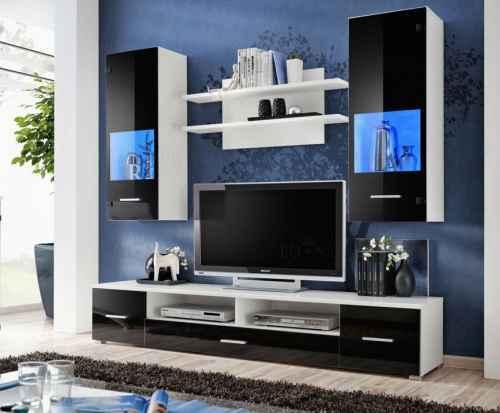 Obývací stěna RENNIE bílá / černá lesk