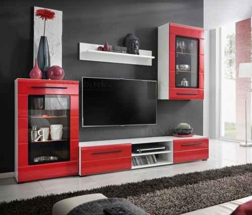 Obývací stěna BERRIE bílá / červená lesk DOPRODEJ