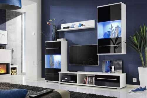 Obývací stěna LIPO bílá / černá lesk