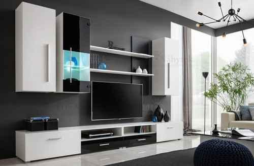 Obývací stěna TORRO bílá / černá lesk