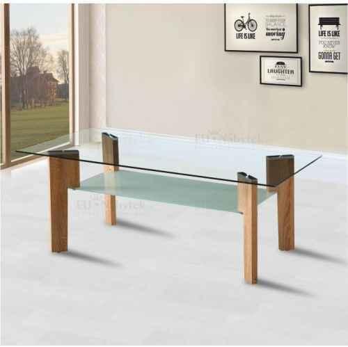 Konferenční stolek, dub sonoma / sklo čiré / mléčné, ADELO