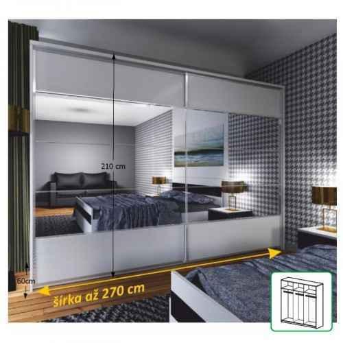 Zrcadlová skříň 2 - dveřová, bílá / zrcadlo, NARINA NEW