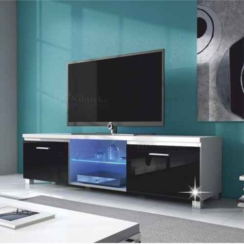 RTV stolek, bílá / černá extra vysoký lesk HG, LUGO 2