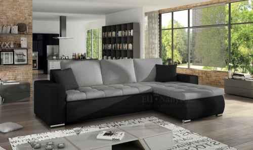 Rozkládací rohová sedačka DAJANA šedá/černá