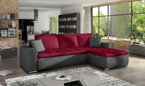 Rozkládací rohová sedačka DAJANA červená / šedá