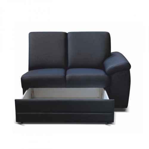 2- sed s opěrkami a úložným prostorem, ekokůže černá, pravá, BITER 2 1B ZS