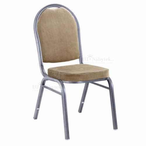 Židle, stohovatelná, látka béžová / rám šedý, JEFF 2 NEW