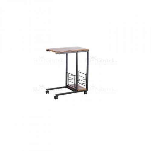Příruční stolek na kolečkách, ořech / černá, CARMEL