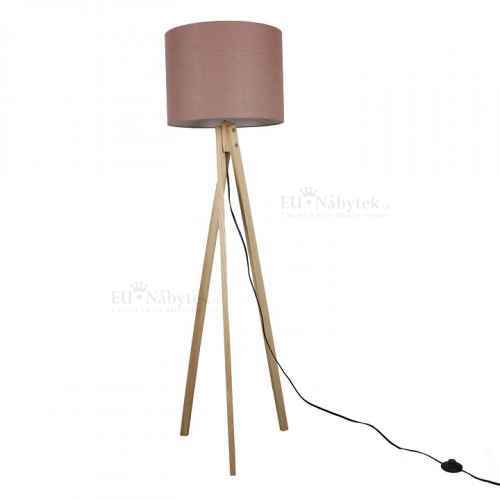 Stojací lampa, Taupe hnědá / přírodní dřevo, LILA TYP 8