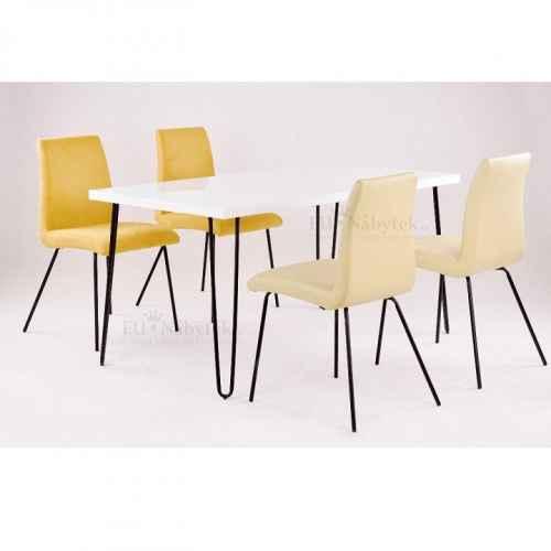 Jídelní stůl, bílá extra vysoký lesk / kov, KURT
