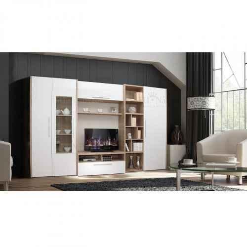 Obývací stěna, dub sonoma / bílá s extra vysokým leskem, AKONA