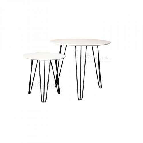 Set dvou příručních stolků, bílá / černá, HOLDEN 2V1