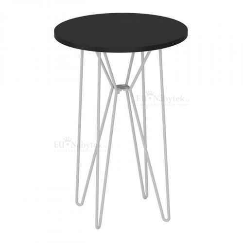 Příruční stolek, černý dub / bílé kovové nohy RUBEN