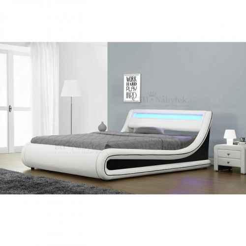 Manželská postel s RGB LED osvětlením, bílá / černá, 180x200, MANILA